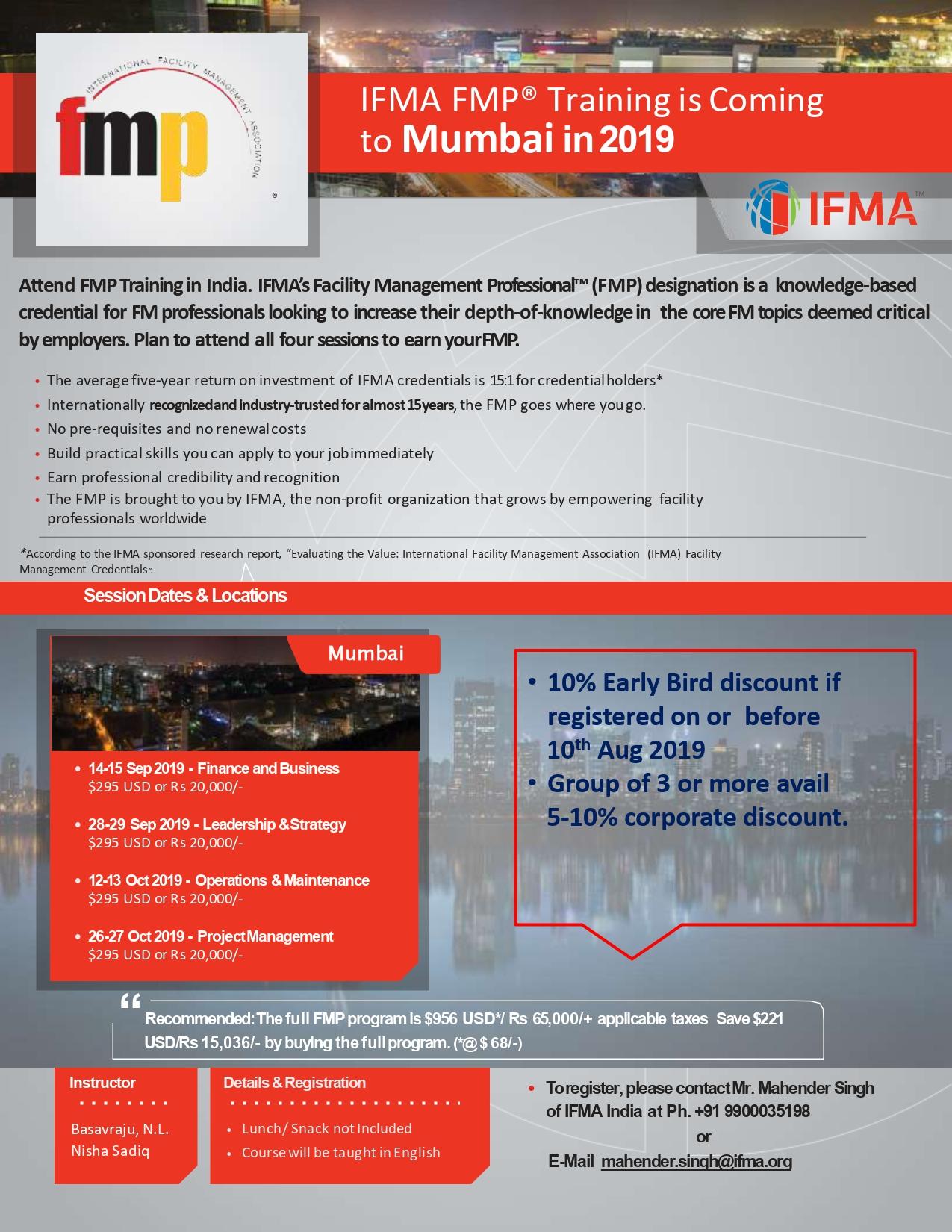 IFMA FMP Certification Training - Mumbai - IFMA India IFMA India